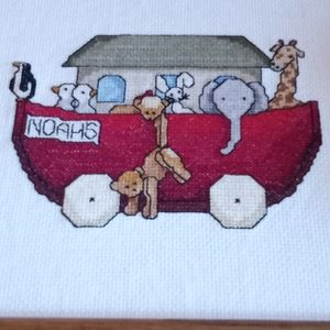 Cross stitch Noah's arc completed